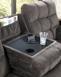 acieona slate reclining sofa with drop down table from ashley