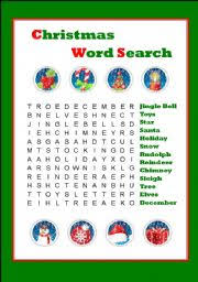 christmas word search worksheet by csmada