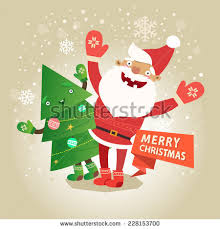 santa claus reindeer singing christmas songvector stock vector