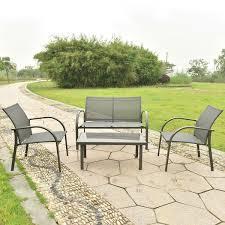 Textilene Patio Furniture by Costway 4pcs Patio Garden Furniture Set Steel Frame Outdoor Lawn