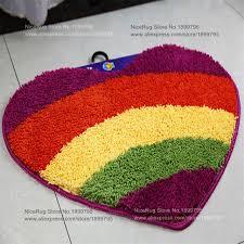 Floral Bathroom Rugs Rainbow Heart Shape Carpet Children Floral Bath Mats Love Adults