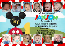 Mickey Mouse Invitation Card Mickey Mouse Clubhouse Customized Birthday Invitation 5x7 Collage