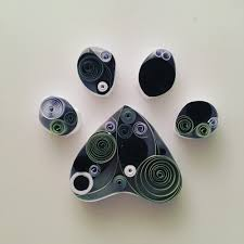 Home Decoration Handmade Paw Print Paper Quilling Art Perfect For Gift Or Home Decor