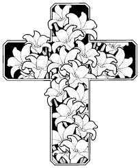 cross with flowers coloring pages 17073