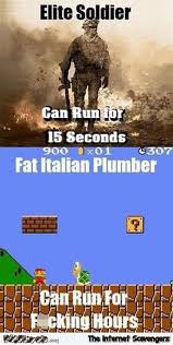 elite solider versus fat italian plumber funny video game meme pmslweb