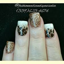 almond shaped acrylic nails with gel polish and transferred foil