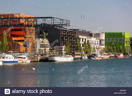 the orange cube building in the la confluence district of lyon