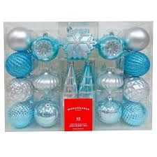 40ct fashion silver blue shatterproof ornament set