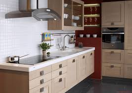 pale brown wooden kitchen cabinet with drawers and storage