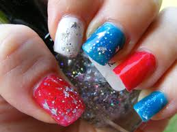 Nail Art Designs July 4 4th Of July Nails With Glitter July 4th Nails 4th Of July Nails