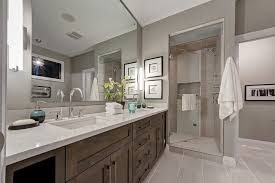 caesarstone misty carrera bathroom transitional with penny tile