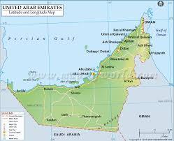 uae map arab emirates latitude and longitude map