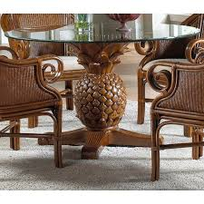 cancun palm end table cancun palm indoor rattan wicker pineapple dining table in tc