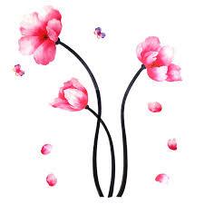 fashion pink lotus flower butterflies design wall sticker