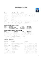 Medical Doctor Curriculum Vitae Template 1 Cv Of Dr Rs Mehta