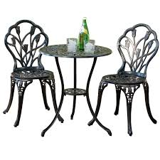Aluminum Bistro Table And Chairs Cast Aluminum Brown Bistro Set With Hayneedle