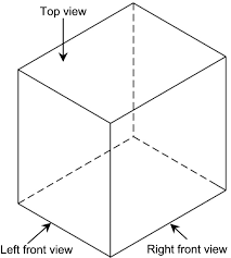 an isometric drawing of a cube
