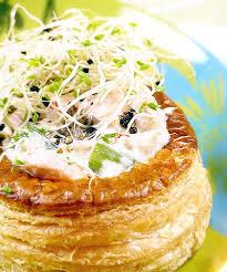 cuisine asperge vol au vent de truite et asperges à la crème de soja et graines