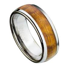 wood inlay wedding band tungsten ring for men with koa wood inlay and domed profile