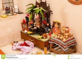 Decoration For Puja At Home by Typical Prayer Room Hindu South Indian Family Home Stock Photo