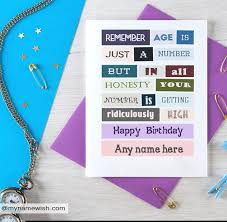 age is just a number funny birthday cards with name u2013 create a