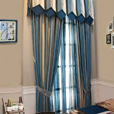 Blue And Beige Curtains Custom Chenille Blue Beige Striped Curtains Not Include Valance
