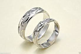 his and hers wedding bands mens womens 14k white gold his hers matching link chain wedding