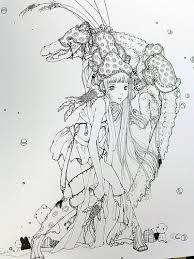 pop manga coloring book surreal journey cute curious