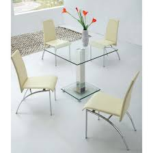 small glass kitchen table square ice clear glass dining table with 4 d211 chairs showroom