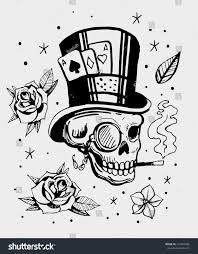 skull hat cards roses stock vector 716905984