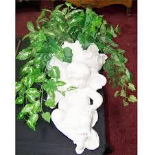 ceramic wall hanging cherub plant holder