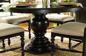 Dining Room Round Copper Top Table Wood Pedestal Base  Regarding - Awesome teak dining table and chairs residence
