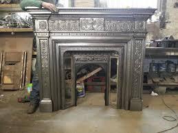 combination cast iron fireplace suite huge ornate antique english
