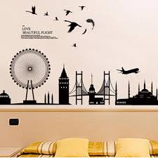 removable wall sticker city silhouette buildings art decals mural see larger image