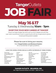 tanger outlets to hold job fair in branson may 16 u0026 17 2017