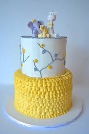 gray and yellow gender neutral baby shower cake elephants and