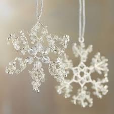 mini bead snowflake ornaments crate and barrel