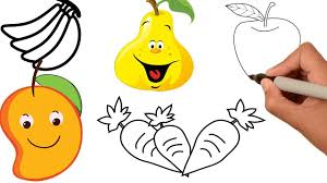 fruits coloring pages colors children drawing fruits