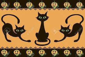 orange and black halloween background halloween background with cats pumpkins and decor element royalty