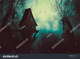 halloween night background spooky forest trees stock illustration