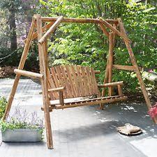 Patio Swing Frame by Wood Porch Swing Bench Deck Yard Outdoor Garden Patio Rustic Log