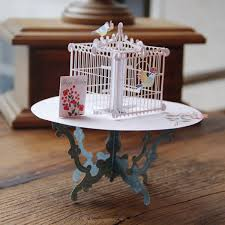 handmade 3d pop up greeting card table birdcage birthday wedding