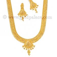 jewellery necklace earring sets images Filigree long necklace earrings set 22kt gold gold palace jpg