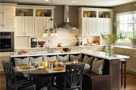 kitchen island with bench furniture chic wooden kitchen armstrong cabinets in white with
