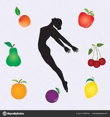fruit by mail sport healthy food sketch woman gymnast multicolor set fresh fruit