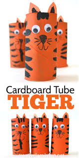 cardboard tube tiger craft creative family fun