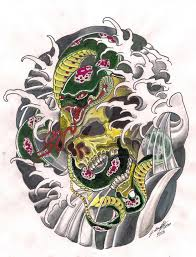traditional japanese snake and skull design by punch line