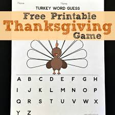 turkey word guess a printable thanksgiving in the works