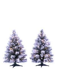 snow capped mini flocked trees treetopia