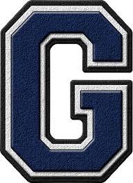 presentation alphabets navy blue varsity letter g